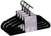 JVL Thin Velvet Touch Space Saving Non-Slip Coat Hangers, Black, Pack of 20