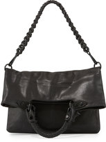 Elliott Lucca Iara Leather Fold-Over Crossbody Tote Bag, Black