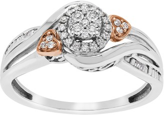 Promise Love Forever 14k Rose Gold Plated Sterling Silver 1/10 Carat T.W. Diamond Ring