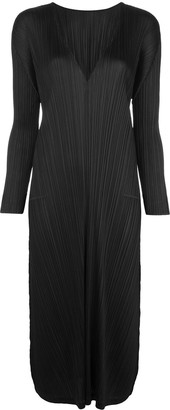 Pleats Please Issey Miyake Long-Sleeve Pleated Midi Dress