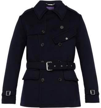 Ralph Lauren Purple Label Double Breasted Melton Wool Trench Coat - Mens - Navy