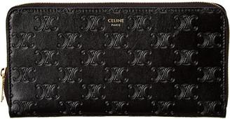 Celine Large Embossed Leather Zip Around Wallet