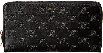 Celine Large Embossed Leather Zip Around Wallet