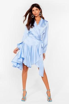 Nasty Gal Womens Satin Wrap Mini Dress with Ruffle Detailing - Pale Blue