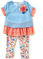 Rare Editions Baby Girls 12-24 Months Color Block Dress and Flower-Print Leggings Set