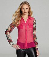 Aryn K Silk Geo-Sleeve Blouse