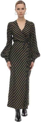 Ganni Striped Viscose Midi Dress