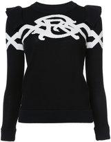 Sonia Rykiel intarsia ruffle jumper - women - Cotton/Nylon - XS