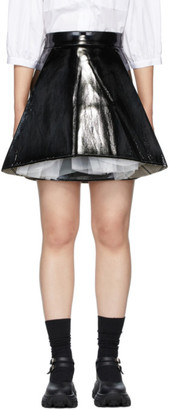 SHUSHU/TONG Black Faux-Leather A Shape Miniskirt