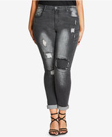 City Chic Trendy Plus Size Gray Wash Patched Jeans