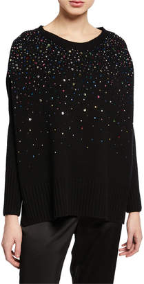 St. John Embellished Confetti Cashmere Fully Fashion Sweater w/ High-Low Detail
