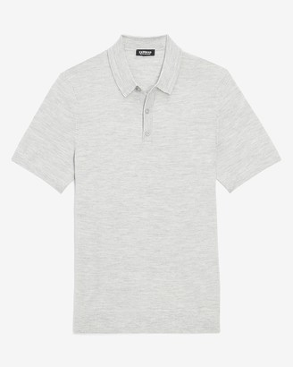 Express Solid Merino Wool-Blend Short Sleeve Polo Sweater
