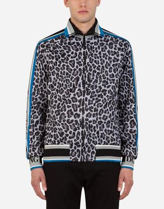 Dolce & Gabbana Zip-Up Sweatshirt With Leopard Print