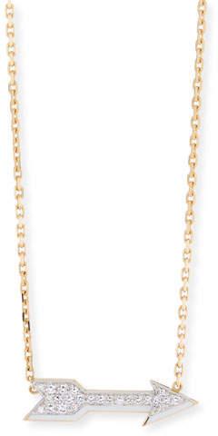 David Webb Motif 18k Gold Diamond Arrow Pendant Necklace with White Enamel