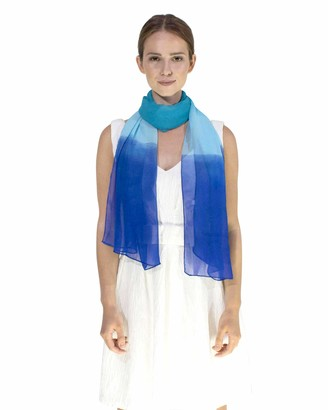 Basic Sense Classic Plain Solid Chiffon Scarf Light Weight & SOFT See-Through Semi Opaque Fabric 47 x 160cm (18.5 x 62 inch) - Luxurious Touch To Any Outfit All Year Around Sheer Scarves (Aqua)
