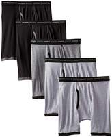 Hanes Men's 5-Pack FreshIQ No Ride Up Dyed Boxer Briefs