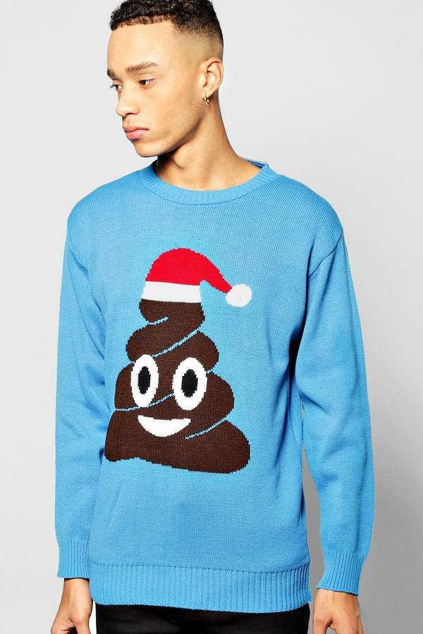 boohoo Poo Emoji Christmas Jumper blue