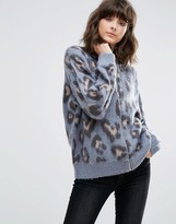 Weekday Leopard Print Knit Bomber