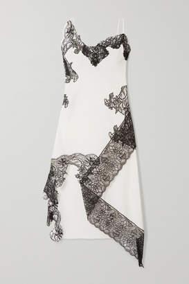 Marques Almeida Marques' Almeida - Asymmetric Lace-trimmed Cotton-poplin Midi Dress - White