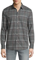John Varvatos Plaid Slim-Fit Sport Shirt, Silver Heather