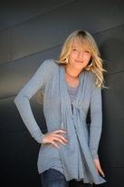 linQ Pleated Draped Jacket in Heather Grey