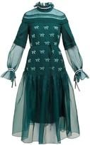 Carolina Herrera Horse-applique Silk Gown - Womens - Green Multi