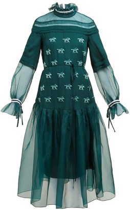 Carolina Herrera Horse-applique Silk Gown - Green Multi