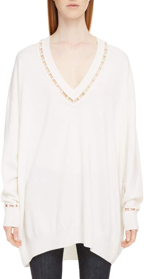 Givenchy Imitation Pearl Embellished Cashmere & Wool Sweater