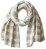 David & Young Women's Textured Plaid Print Oblong Scarf
