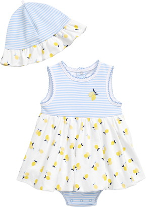 Little Me Lemon Bodysuit Dress & Sun Hat Set