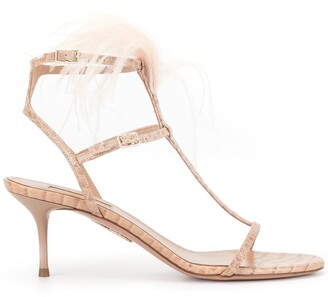 Aquazzura Feather Applique Sandals