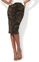 New York & Co. Zip-Accent Pencil Skirt - Camouflage Print