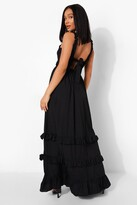 Thumbnail for your product : boohoo Ruffle Shirred Tie Back Tiered Maxi Dress