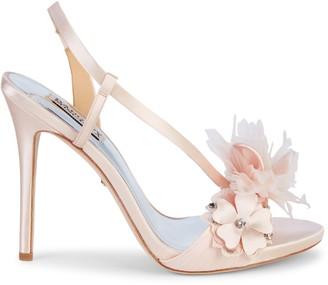 Badgley Mischka Forever Floral Embellished Stiletto Slingback Sandals