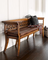 Leighton Wood & Leather Settee