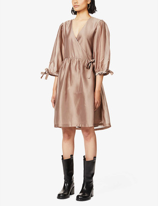 Designers Remix Enola recycled polyester mini wrap dress