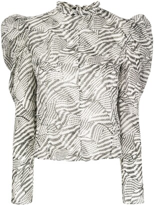 Isabel Marant Puff-Sleeve Patterned Blouse