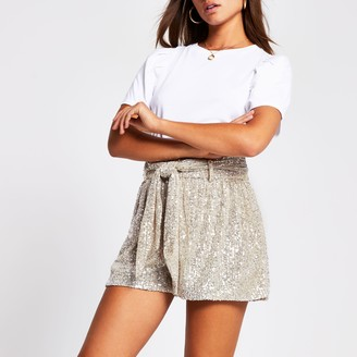 River Island Womens Silver sequin embellished shorts