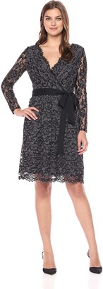 Donna Ricco Women's Lace Wrap Long Sleeve Dress Black/Grey 6