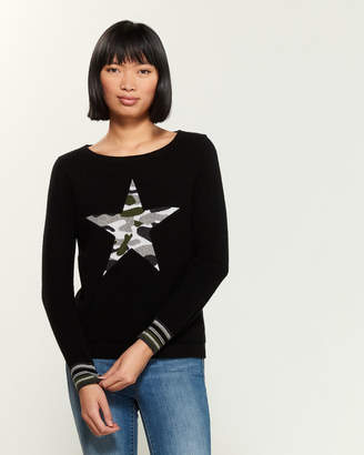 Qi Large Camo Star Long Sleeve Cashmere Sweater