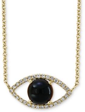 "Effy Onyx (6mm) & Diamond (1/10 ct. t.w.) Evil Eye Pendant Necklace in 14k Gold, 14-1/2"" + 2"" extender"
