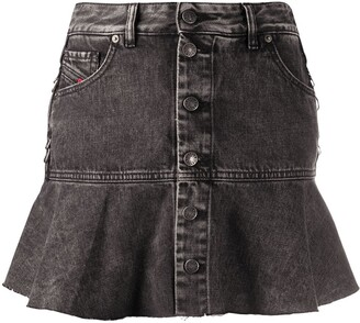 Diesel Flounced Marbled Denim Skirt