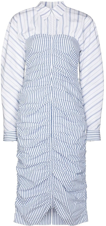 Ganni Zip-Front Vertical-Stripe Shirtdress