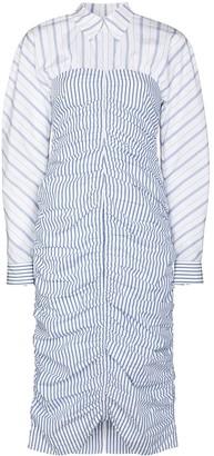 Ganni Zip-Front Vertical-Stripe Shirtdress