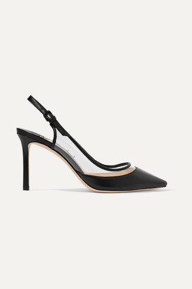 Jimmy Choo Erin 85 Pvc And Leather Slingback Pumps - Black