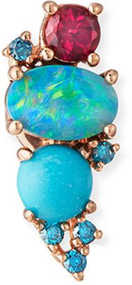 Stevie Wren GemBar 14k Rose Gold Diamond & Stone Ear Climber, LEft