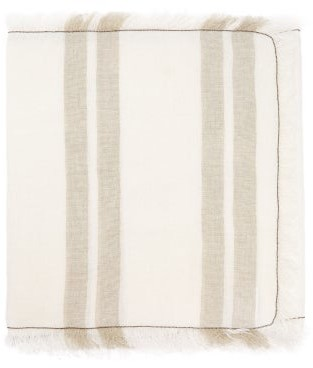 Thumbnail for your product : Brunello Cucinelli Fringed 160cm X 39cm Striped Linen Table Runner - Multi