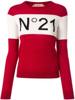 No.21 Block-Stripe Logo Jumper