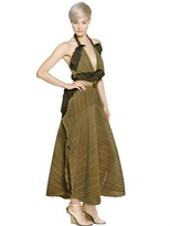 Chloé Ruffled Pleated Georgette Dress