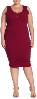 Planet Gold Ribbed Knit Henley Bodycon Dress (Plus Size)